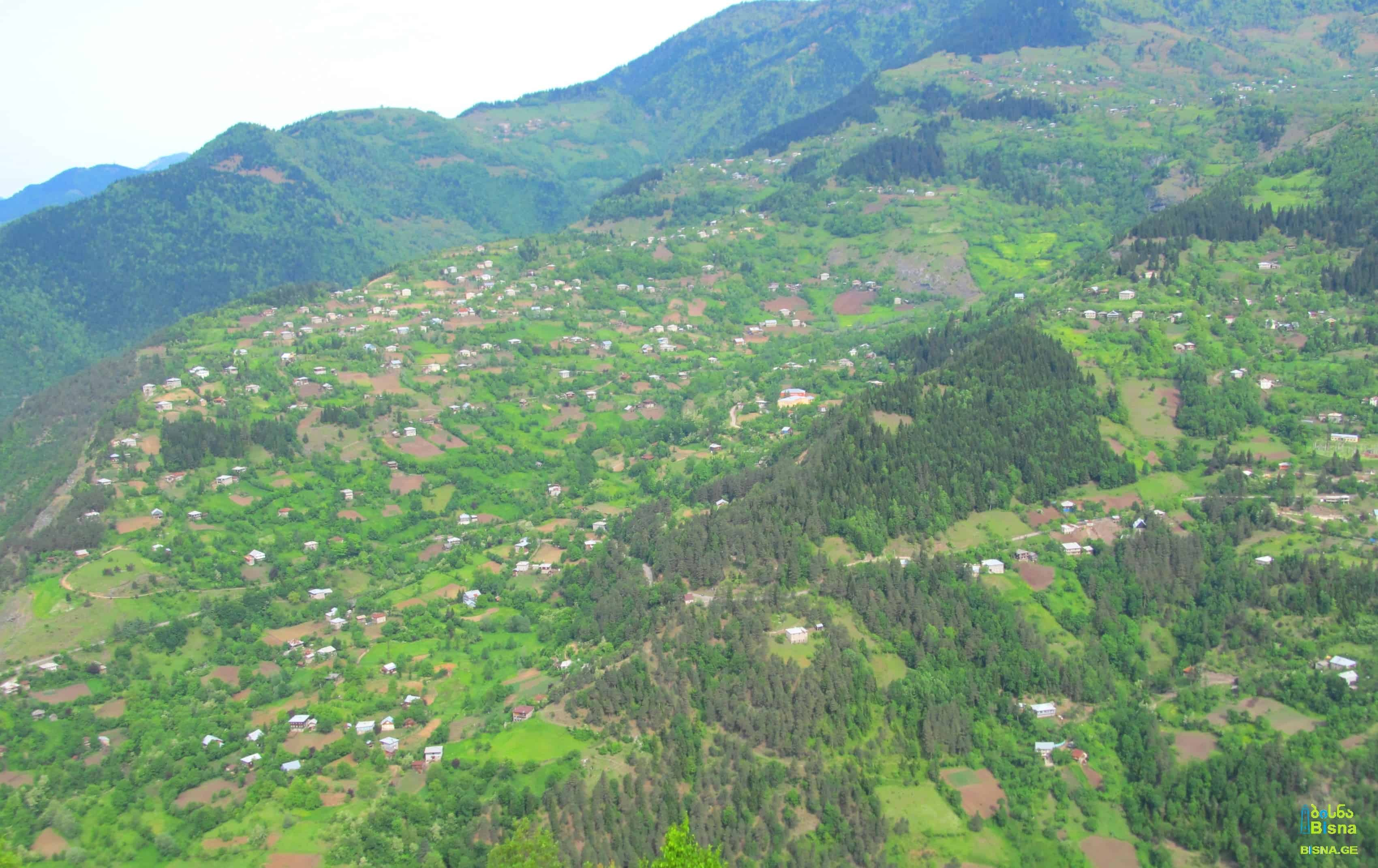 Adjara scenery with villages spread over high green slopes