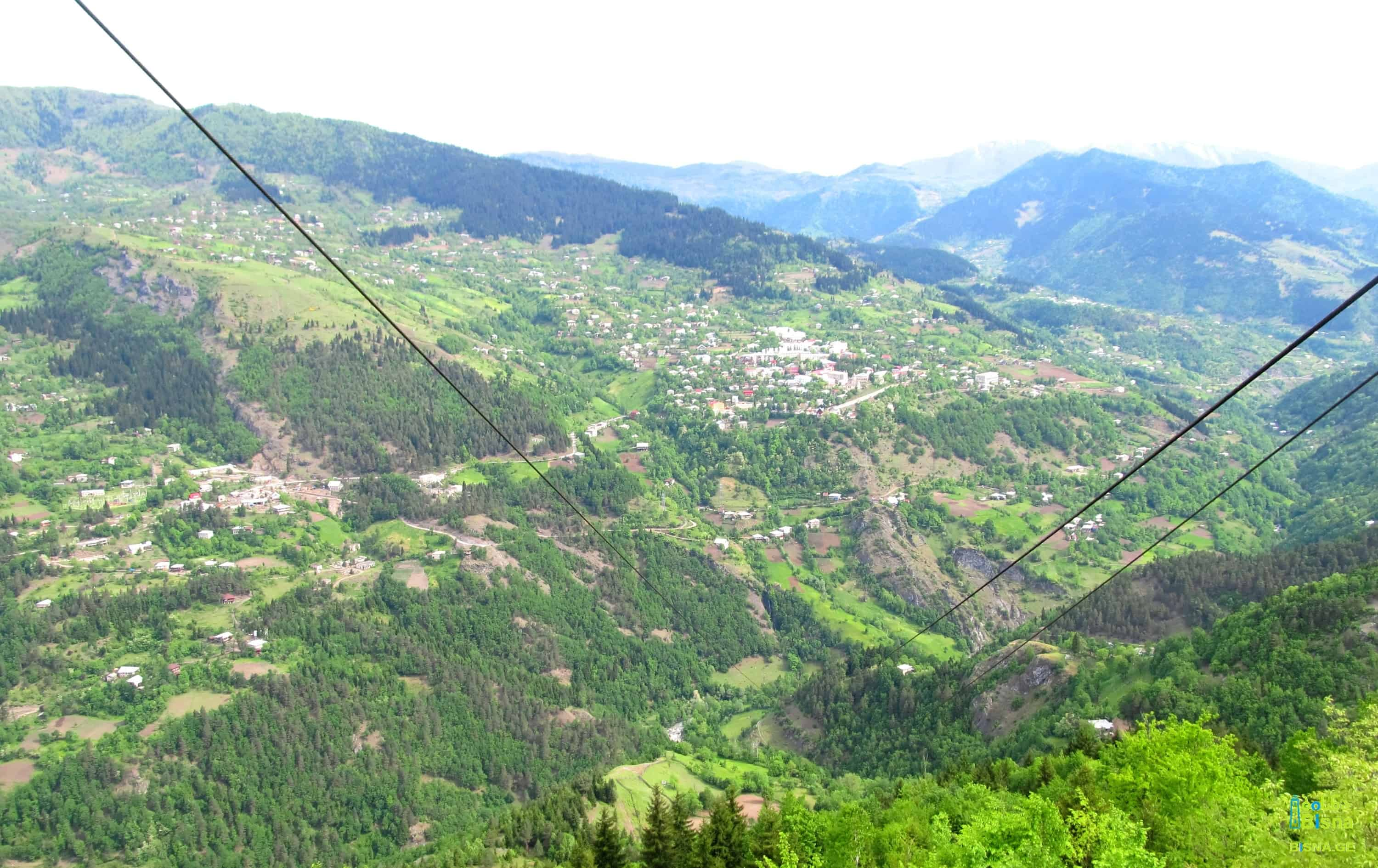 Khulo town and neighbouring villages seen from Tago Cableway Station