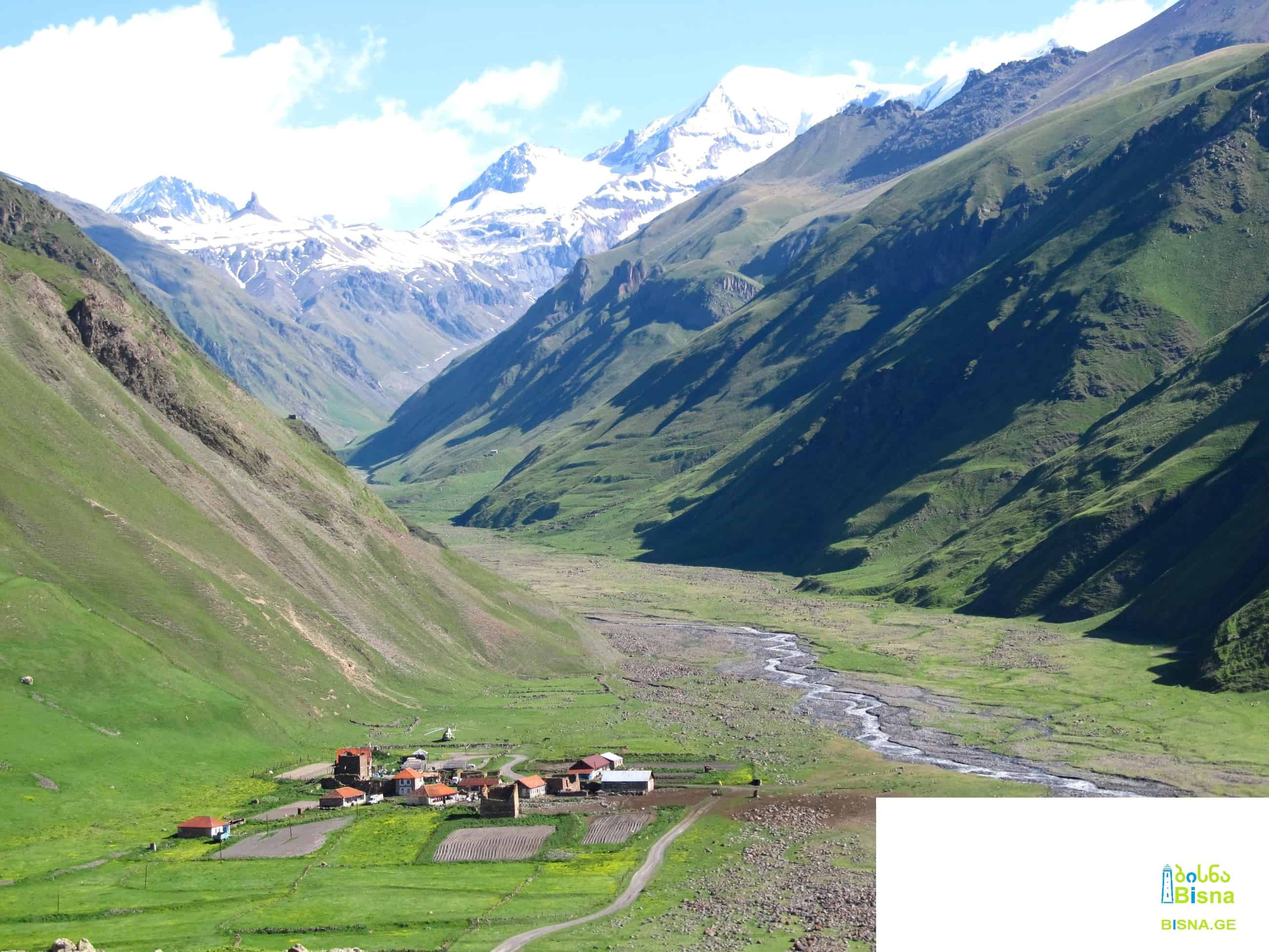 Zemo Okrokhana village, Mna Valley and Mna Fang seen from Truso Valley