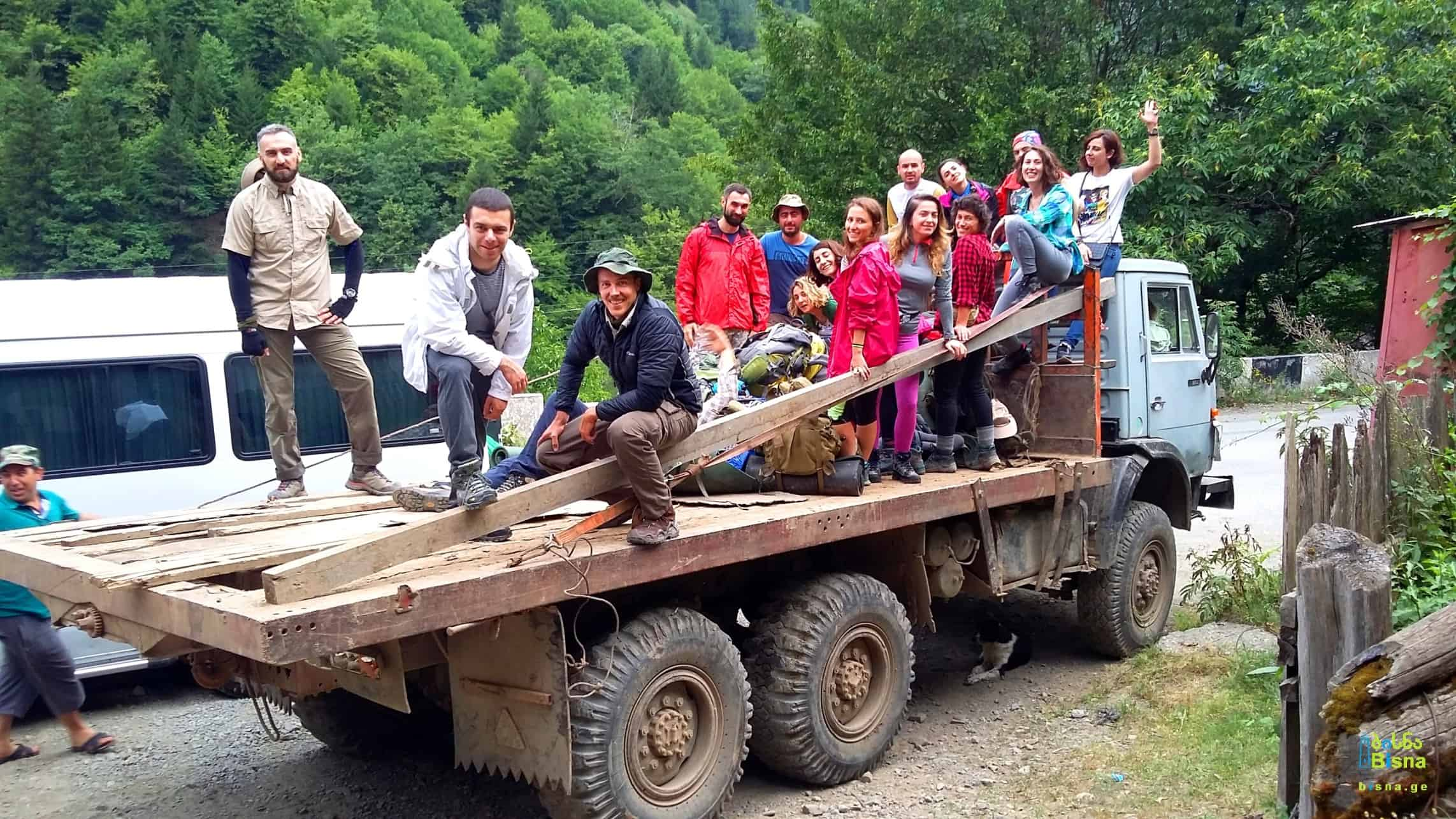 Bisna hiking group on a truck