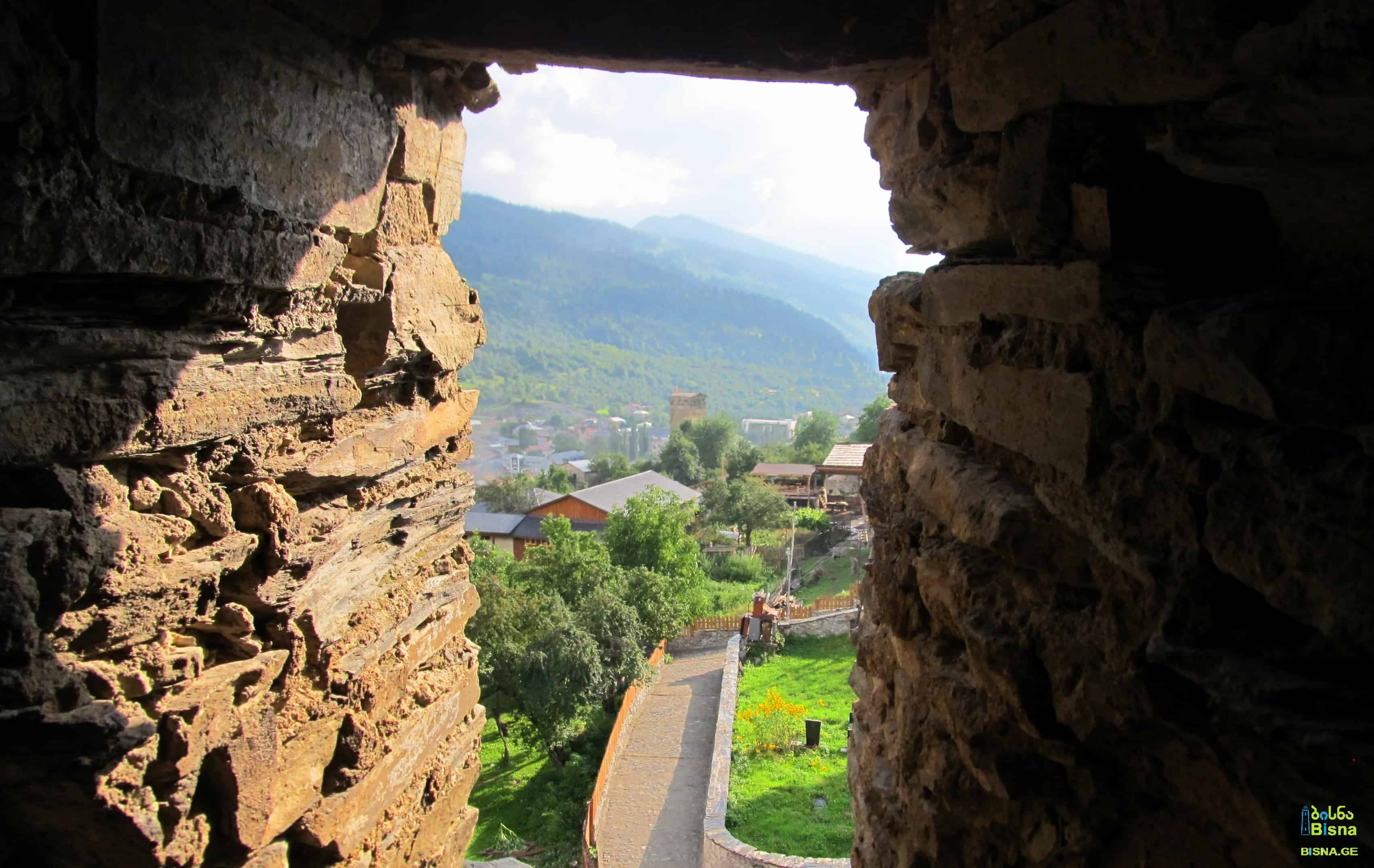 View from a Svanetian tower's window, Mestia